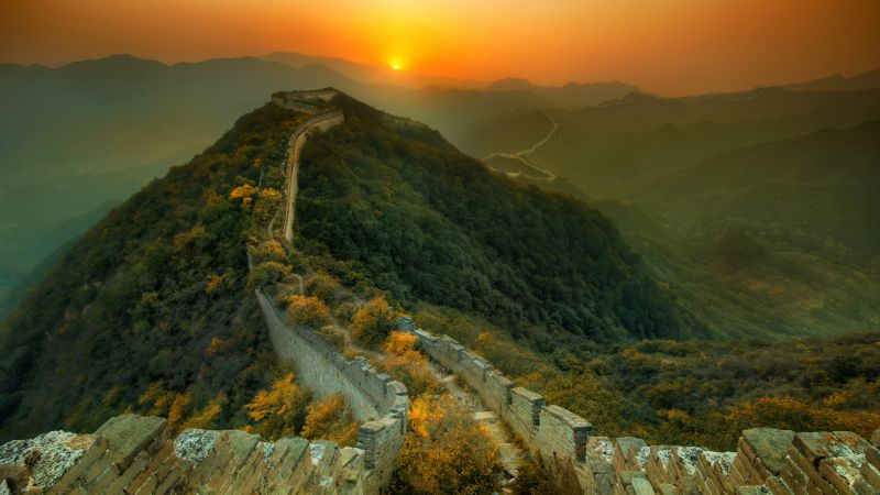 Great Wall of China, travel, tourism, sunset