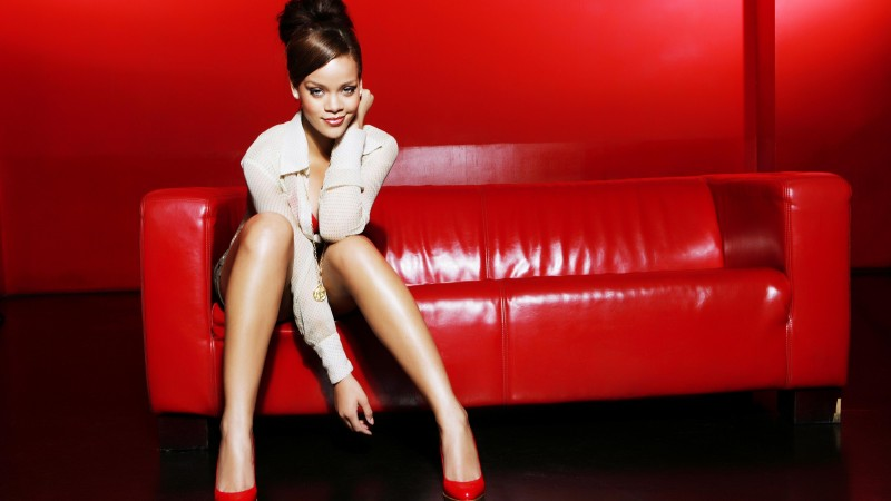 Rihanna, artists, music, red, room, sofa, hair, brunette