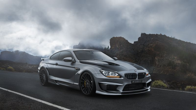 BMW M6, hatchback, gray, rocks.