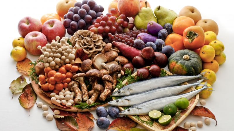 Vegetables, mushrooms, fruit, apple, grape, plum, orange, lime, pear, peach, pistachio, herring (horizontal)