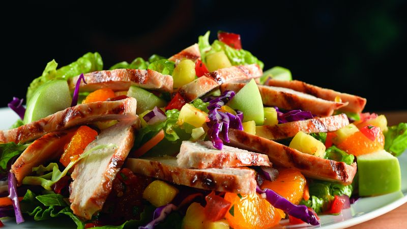 Tropical Chicken Salad, apple, orange, pineapple (horizontal)