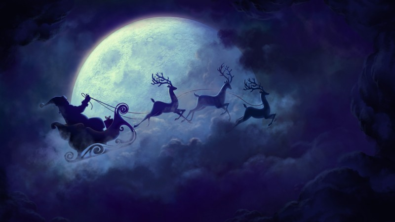 Deer, Santa, moon, clouds, Christmas
