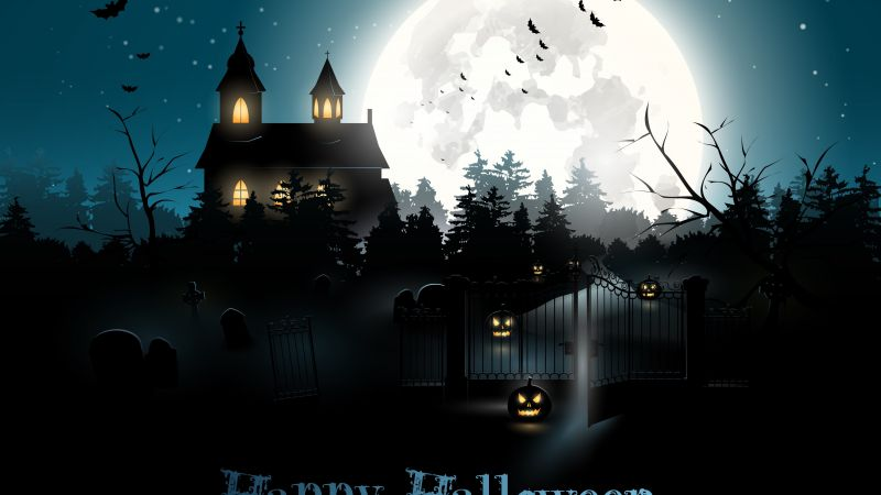 Halloween, moon, cemetery, night, pumpkin (horizontal)