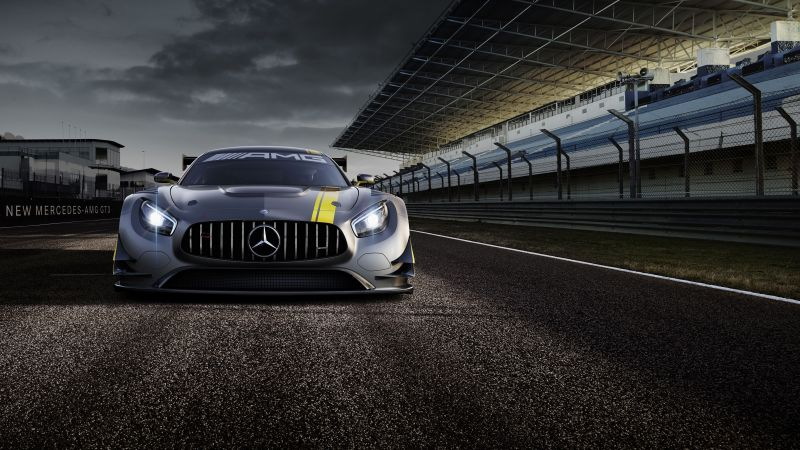 Mercedes AMG GT3, hypercar, coupe, gray. (horizontal)