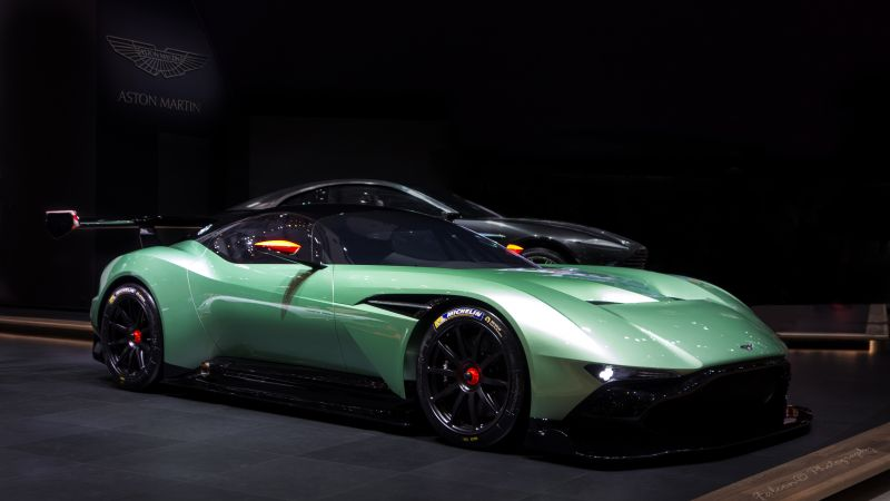 Aston Martin Vulcan, coupe, track only, green.