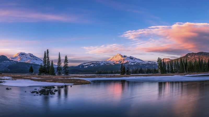 Sparks Lake, Oregon, USA, mountains, lake, trees, clouds