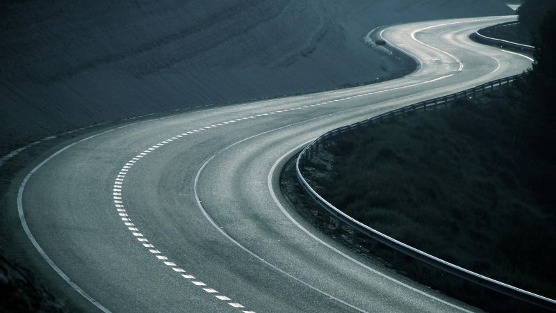 Road, 4k, 5k, HD wallpaper, turn, abstract, track (horizontal)