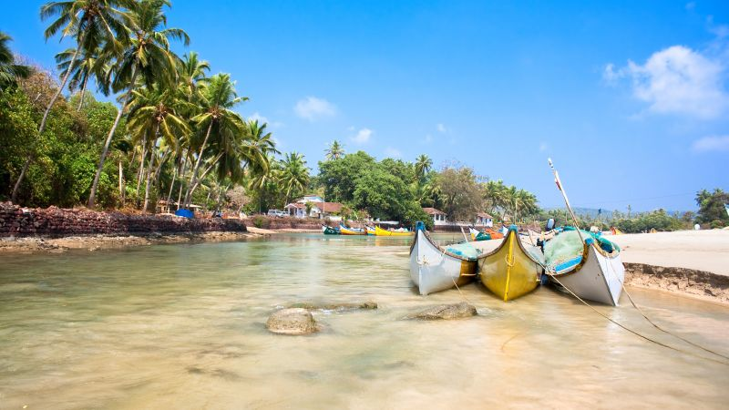 Goa, 5k, 4k wallpaper, India, Indian ocean, palms, boats, travel, tourism, Best Beaches in the World (horizontal)
