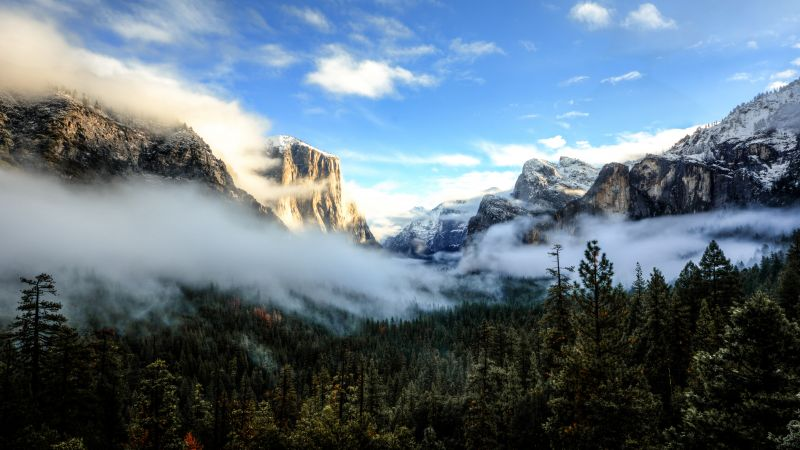 Tunnel View, 5k, 4k wallpaper, 8k, Yosemite, CA, Sunset, mountains, clouds, pines (horizontal)