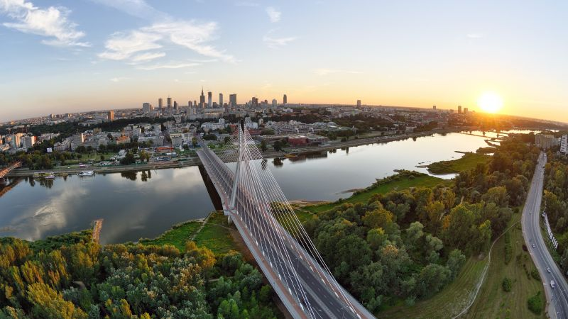 Warsaw, 5k, 4k wallpaper, Poland, Vistula, river, bridge, sunset, trees (horizontal)