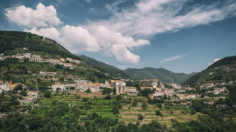 Ravello, 5k, 4k wallpaper, 8k, Amalfi Coast, Italy, hills, trees, sky (horizontal)