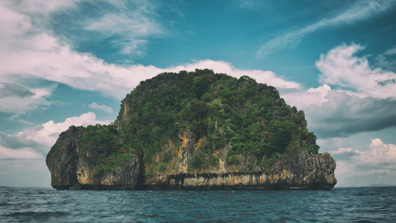 Turtle island, 5k, 4k wallpaper, Krabi, Thailand, Andaman Sea, clouds (horizontal)