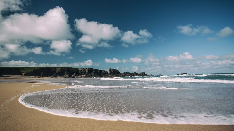 Porthcothan Bay, 5k, 4k wallpaper, Cornwall, England, beach, sea, shore (horizontal)