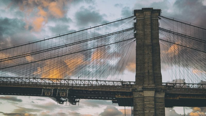 Brooklyn Bridge, New York, Dumbo in Brooklyn, clouds, sunset