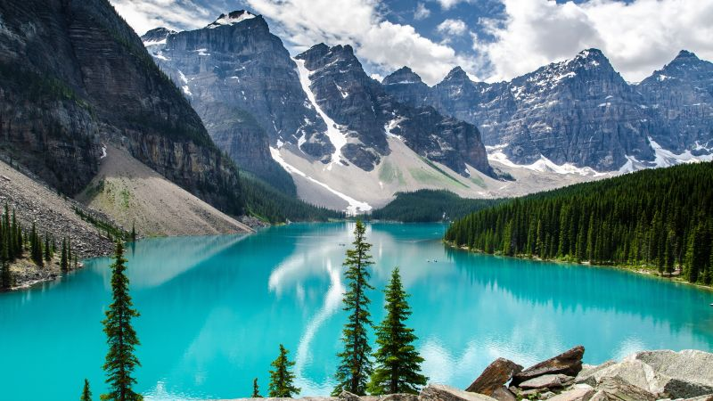 Moraine Lake, 4k, 5k wallpaper, Canada, mountains, lake (horizontal)