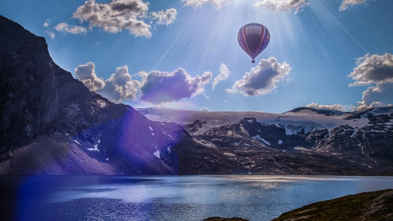 Norway, 4k, 5k wallpaper, 8k, balloon, lake, mountains, clouds (horizontal)