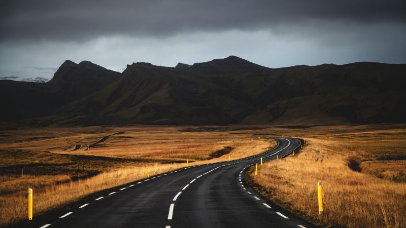 Iceland, road, mountains, clouds