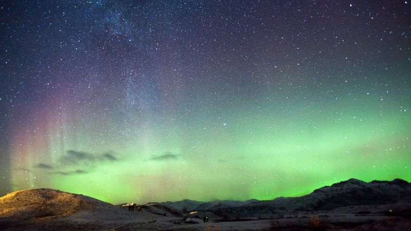 Iceland, northern lights, mountains, night, stars