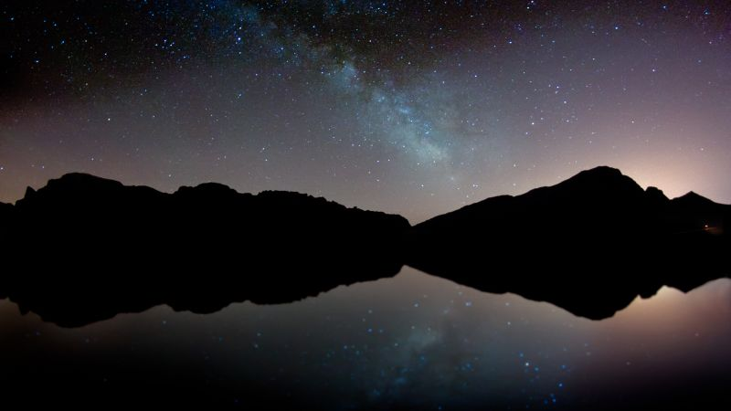 Majorca, mountains, night, stars