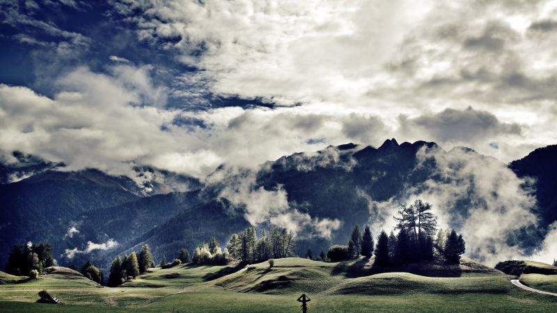 Tirol, 5k, 4k wallpaper, 8k, Austria, mountains, meadows, clouds (horizontal)