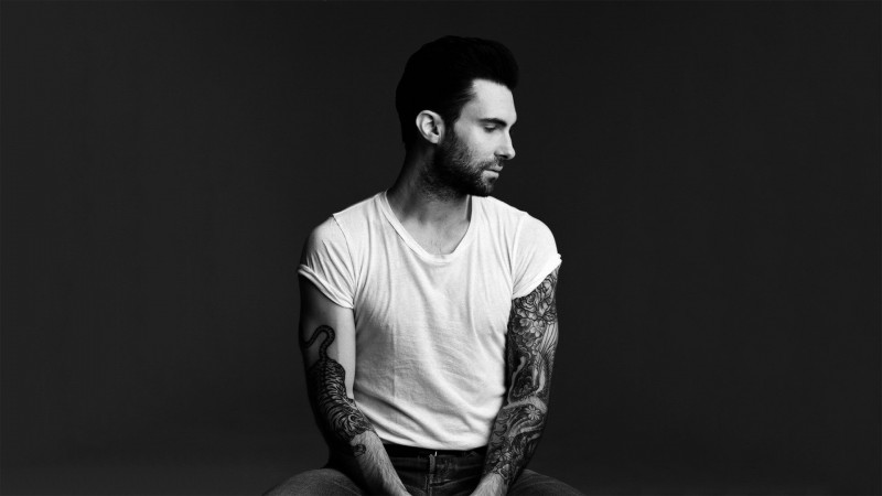 Adam Levine, Maroon 5, singer, actor, rock band, Japanese style, tattoo (horizontal)