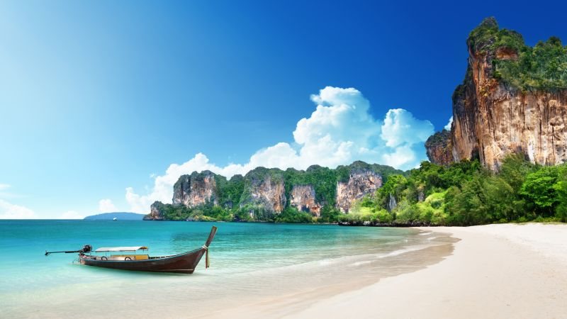 Thailand, 5k, 4k wallpaper, 8k, beach, shore, boat, rocks, travel, tourism (horizontal)