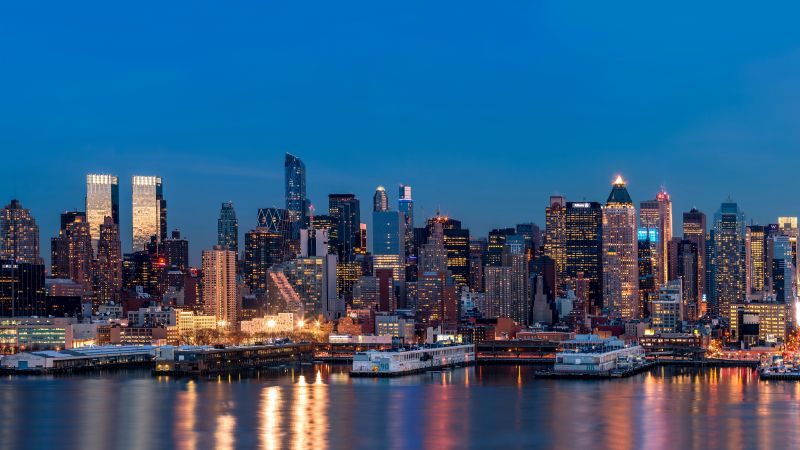 New York, USA, night, lights, skyscrapers, travel, tourism (horizontal)