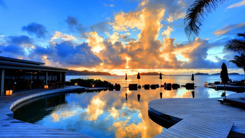 St Barth, 5k, 4k wallpaper, 8k, Hotel Christopher, sunset, pool, travel, tourism (horizontal)