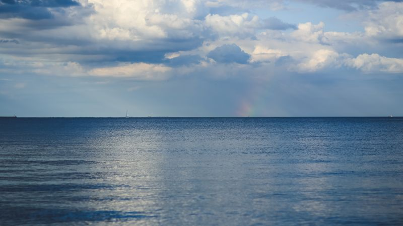 Baltic sea, 5k, 4k wallpaper, 8k, horizon, sky, clouds, rainbow