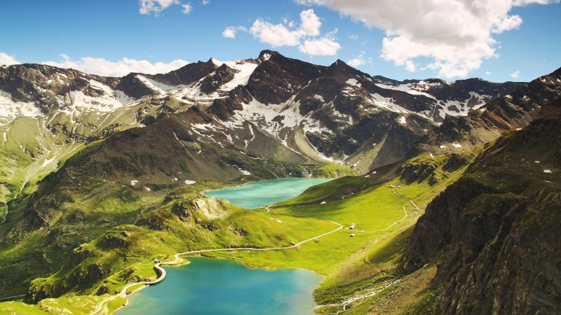 Ceresole Reale, 4k, 5k wallpaper, Italy, mountains, lake, hills. clouds (horizontal)