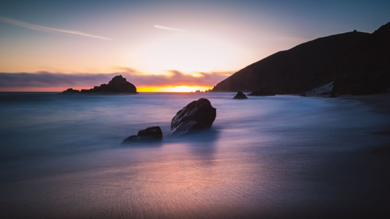 Pfeiffer Beach, 5k, 4k wallpaper, Big Sur, California, USA, Best Beaches in the World, travel, tourism, Sunset (horizontal)