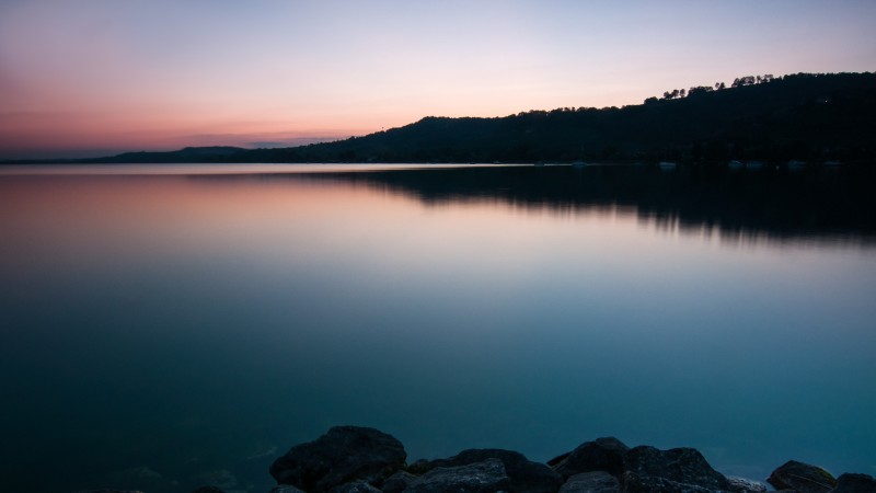 Murtensee, lake, murten, sunset, sunrise