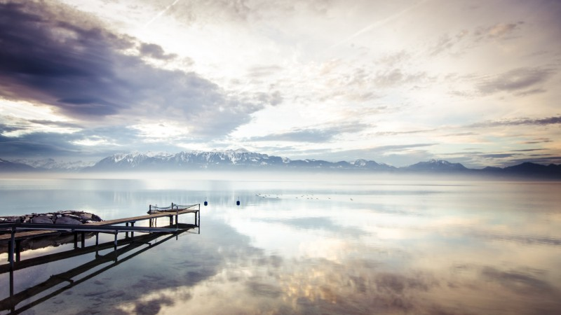 lake, 4k, HD wallpaper, sea, mountains, nature, reflection, water, white, sky, clouds