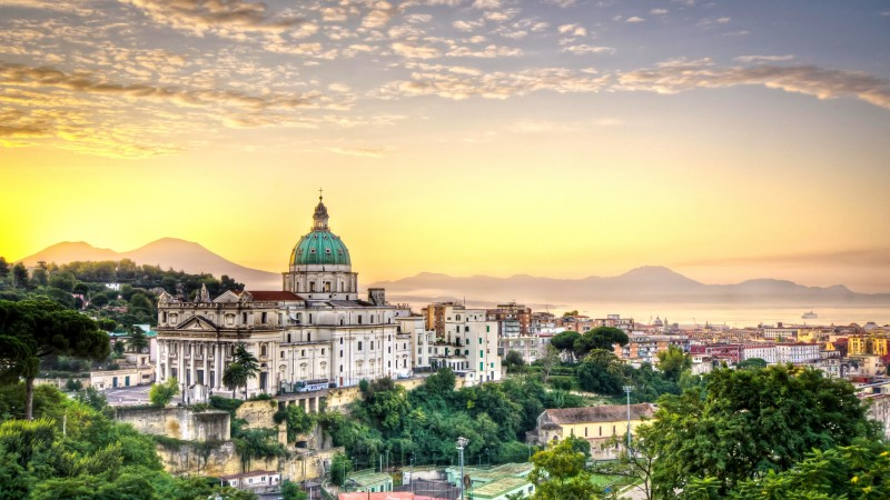 Italy, naples, napoli, city, sky, clouds, hotel, travel