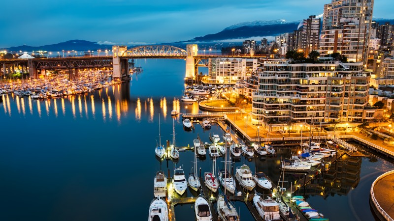 Vancouver, Granville, Island, Canada, night, Morning, lights, boats, blue, water, sea, travel (horizontal)