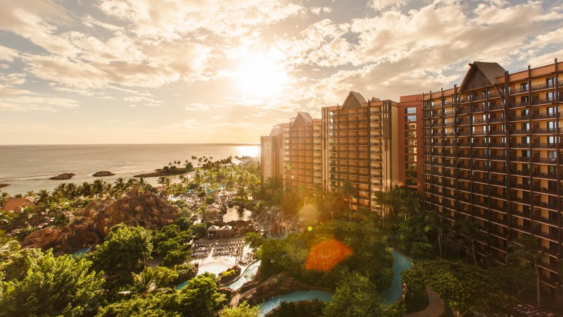 Aulani, disney, resort, spa, hotel, vacation, travel, beach, sea, pool, palm, sky, clouds, booking