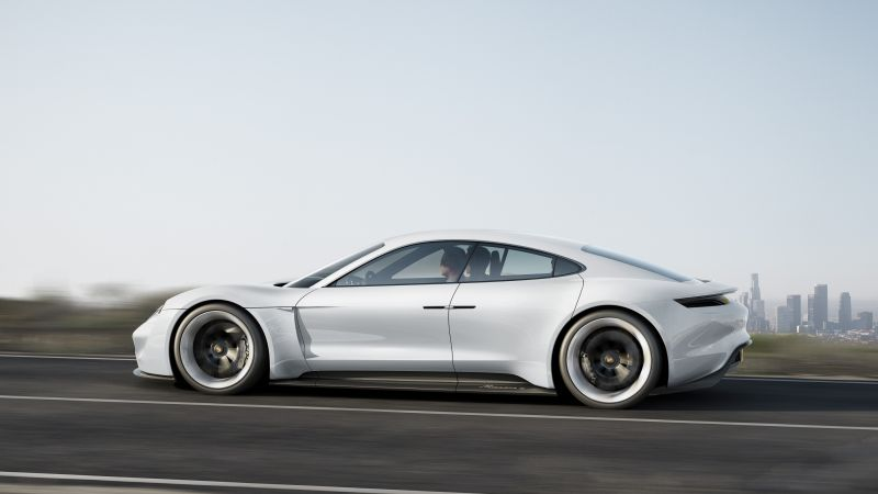 Porsche Mission E, Electric Cars, supercar, 800v, white (horizontal)