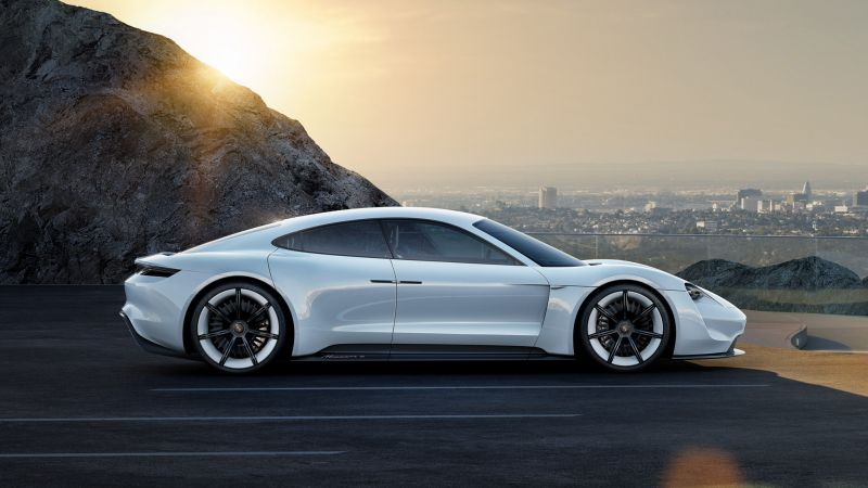 Porsche Mission E, Electric Cars, supercar, 800v, white