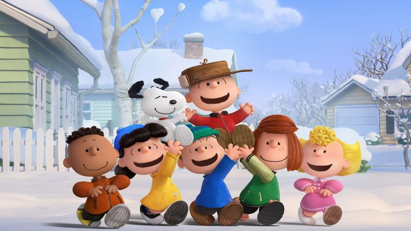 The Peanuts Movie, Snoopy, Charlie Brown, winter, friends (horizontal)