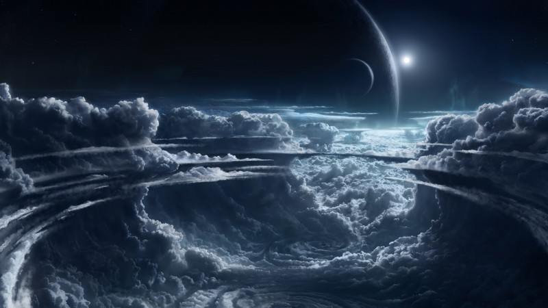 Sky, 5k, 4k wallpaper, clouds, planet, light, atmosphere, cyclone, white, blue (horizontal)