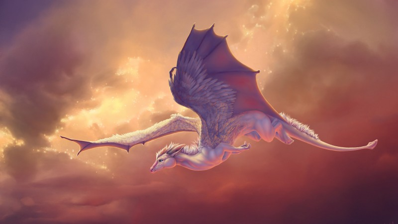 Dragon, wings, sky, pegasus, creation, clouds, art