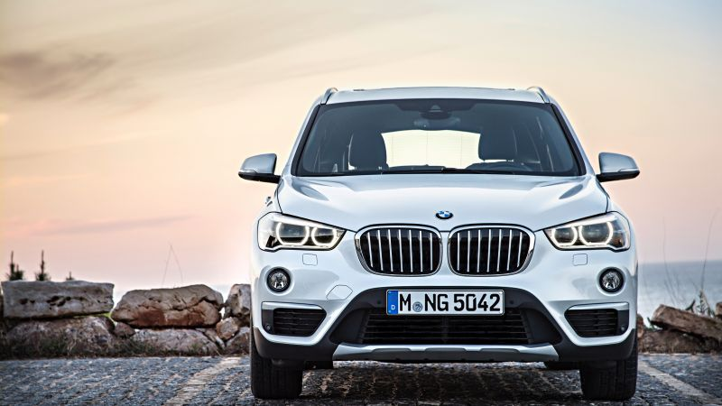 BMW X1, crossover, luxury cars, white, SUV, xDrive, sDrive, Frankfurt 2015