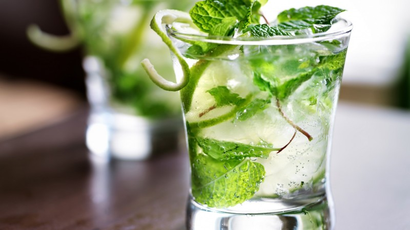 cocktails, gin, ice, mint (horizontal)
