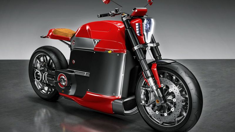 Tesla Model M, electric, motorcycle, red, motorcycles of future (horizontal)