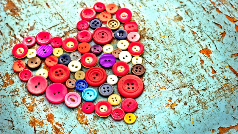 Valentine's Day, February 14, heart, love, holiday, gift, handmade, buttons,  (horizontal)