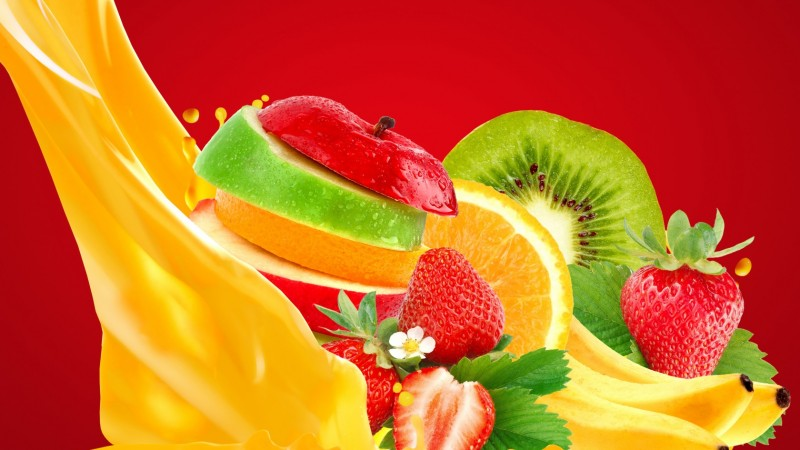 apple, banana, strawberry, orange, juice (horizontal)