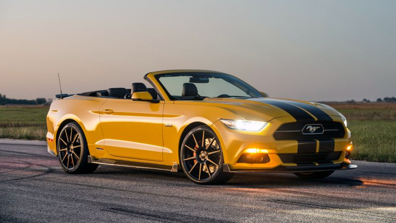 Hennessey Mustang GT Convertible, HPE750 Supercharged, yellow, sport car, racing, SEMA 2015