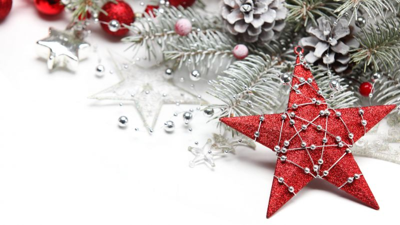 Christmas, New year, decorations, balls, star (horizontal)