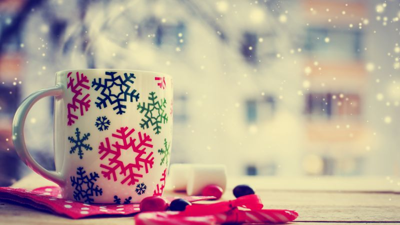 Christmas, cup, tea, winter