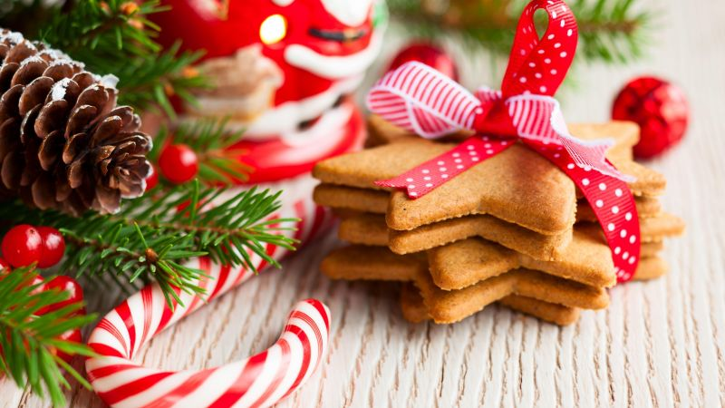 Christmas cookies, New year, decirations, branch (horizontal)